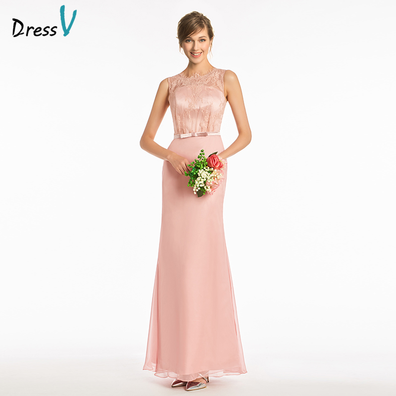 Dressv pink sample sheath bridesmaid dress scoop neck button wedding party women floor length bowknot lace bridesmaid dress
