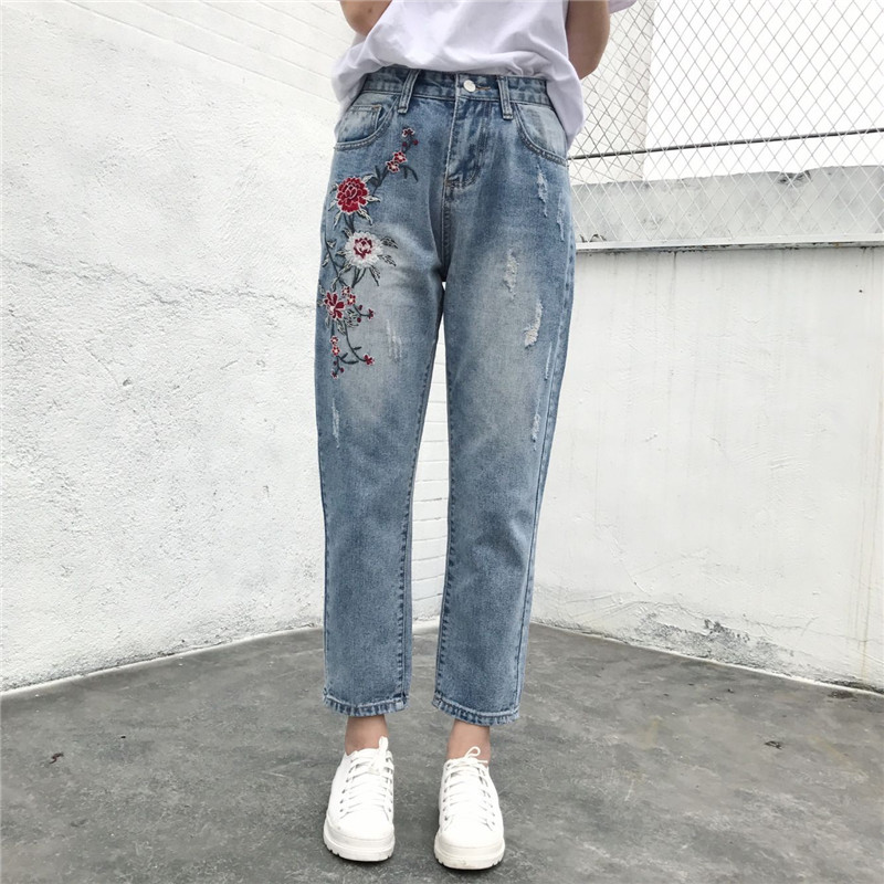 2017 Ripped Jeans For Women High Waist Ankle-Length Pants Loose Straight Embroidery Appliques Pattern Fake Zippers Vintage femme lace embroidery jeans ripped hole straight harem pants women ankle length pants fashion high waist loose plus size pencil pants