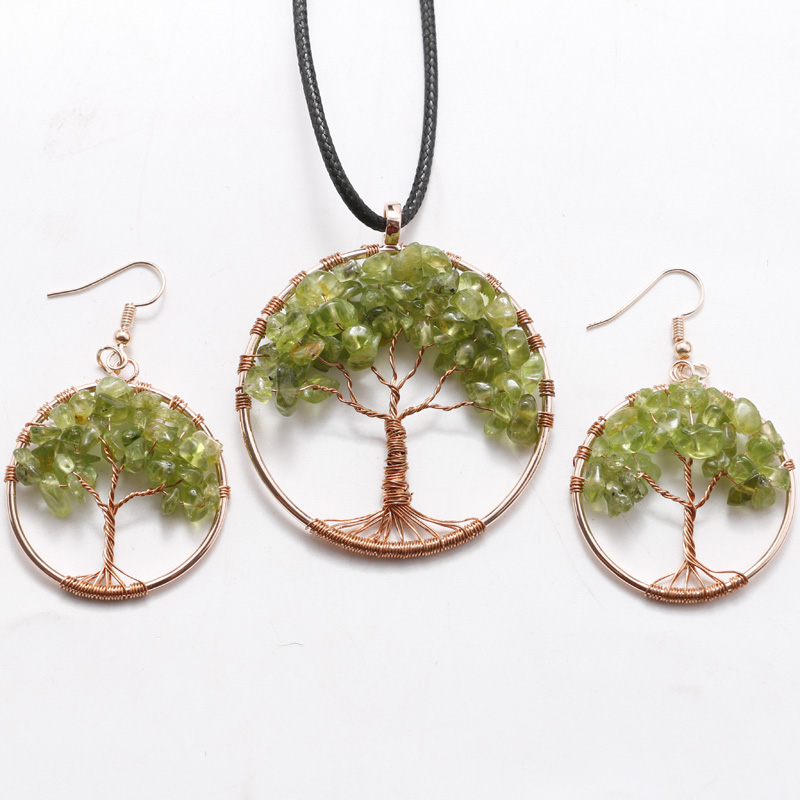 Life Tree Quartz Pendant Women Rainbow Chakra Wire Wrapped ...