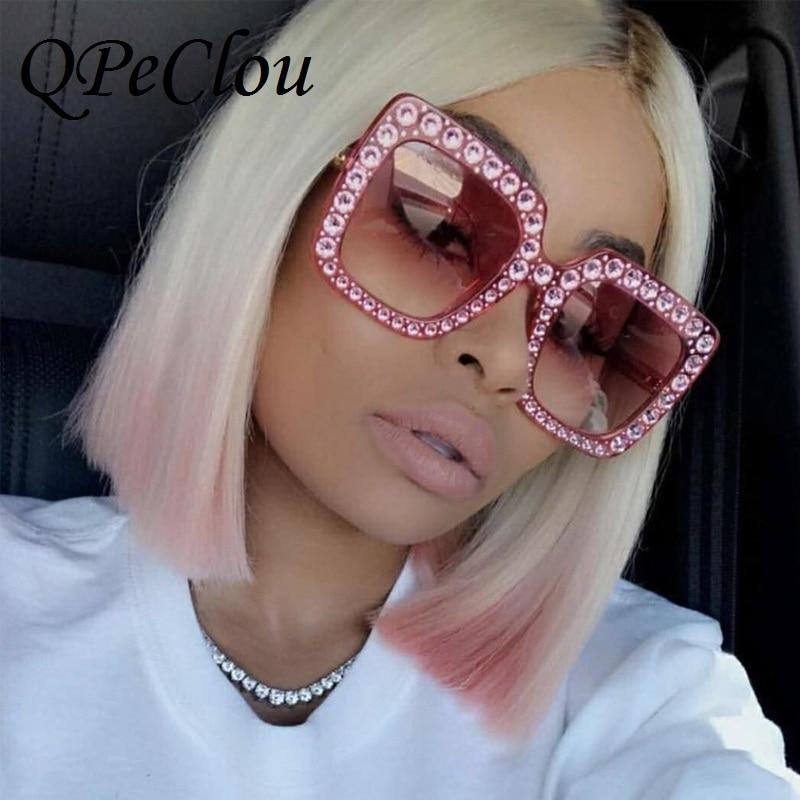QPeClou роскошные квадратные солнцезащитные очки с бриллиантами Женские брендовые солнцезащитные очки больших размеров с кристаллами Новинк...