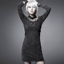 Стимпанк Винтаж Англия улица рок вязаное платье черный с длинным рукавом сделать старый мыть Стиль Повседневное круглым вырезом Короткое платье;