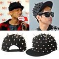Brand Black Golden Horn Rivet Baseball Hat European Pattern Hiphop Flat Snapback Dance Show DJ Men WOmen Casual Flat Hat Caps