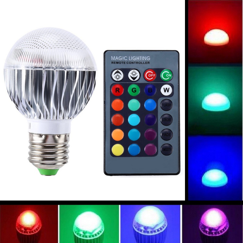 RGB LED Lamp E27 3W 85-265V IR Remote Controller 90 Degree Light LED Bulb Holiday lighting Christmas Home Bar Decoration ...
