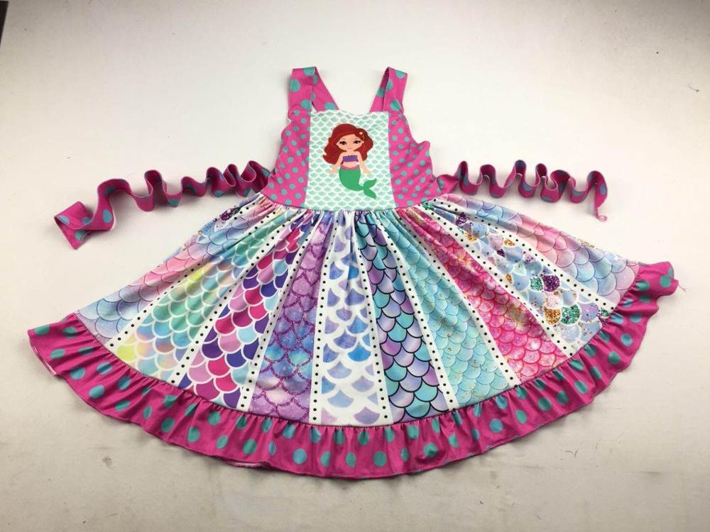cute girls beautiful dress colorful scale pattern boutique children clothing(China)