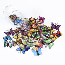 20pcs 3D Plastic butterfly decorative flowers wreaths diy gifts box Fridge sticker scrapbooking needlework bridal accessories