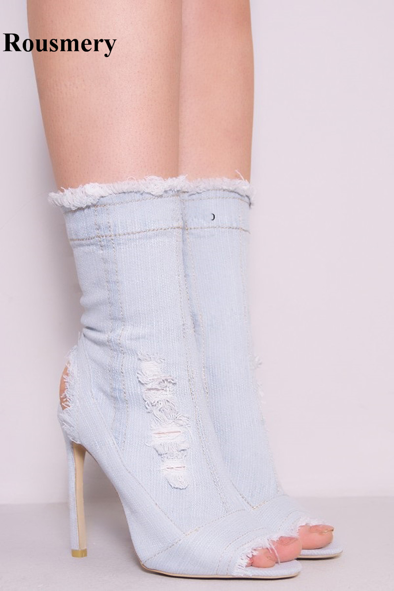 New Fashion Women Open Toe Slim Style Denim Short Boots Blue White Jean High Heel Boots Cut-out Fringe Boots