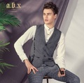 a.B.x High Quality 2015 Men Spring Autumn Grey Gray Young Man Super Slim Casual Suits Vests Business Party Wedding Groom Vest