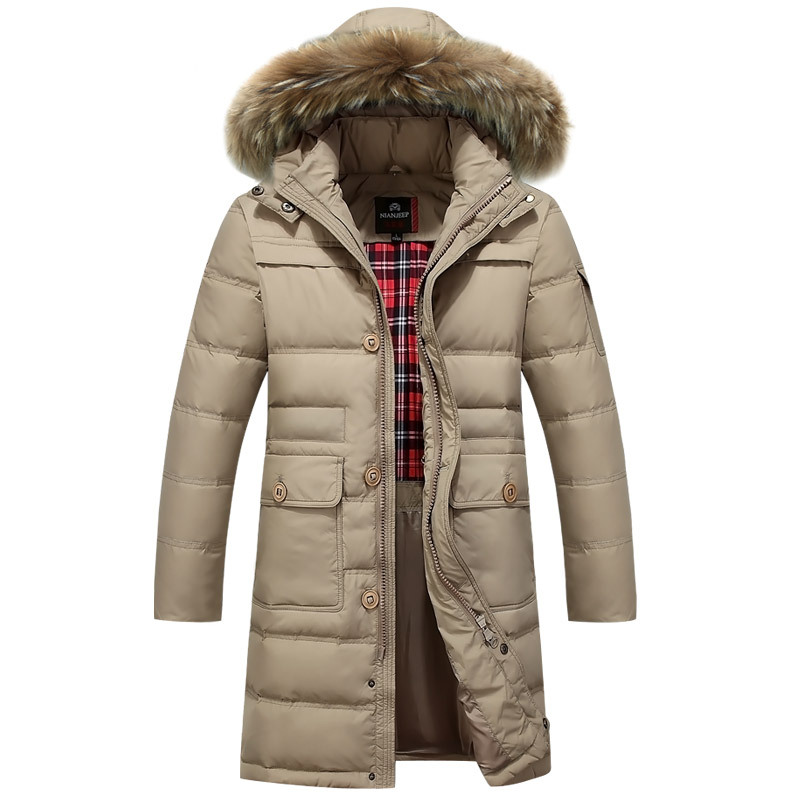 Thick Warm Long 90% Duck Down Winter Jacket Men Fur Hooded Winter Parkas Men Winter Coat 3XL Down Jacket for Men men s 2016 winter warm white duck down jacket high quality and long sections thick hooded down coats hoodie cashmere coat ad