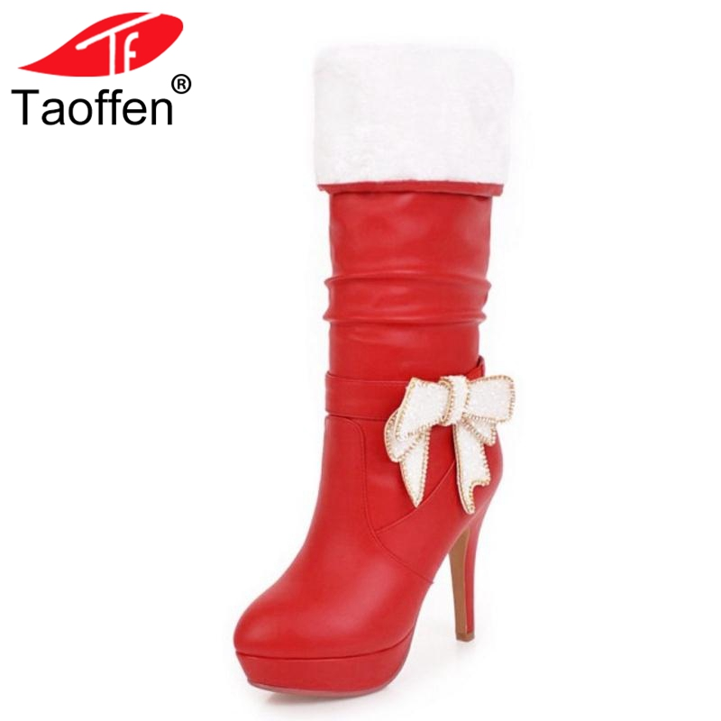Taoffen Sexy Office Lady High Heels Boots Bowknot Warm Fur Shoes Winter Knee High Boots Women Fashion Party Shoes Size 32-43Taoffen Sexy Office Lady High Heels Boots Bowknot Warm Fur Shoes Winter Knee High Boots Women Fashion Party Shoes Size 32-43