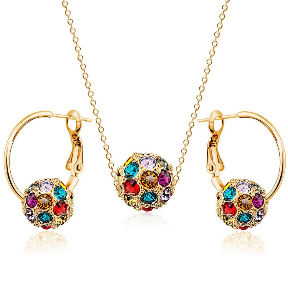 18Bre romantic wedding Bijoux Golden colorful Irregular crystal ball big Ear ring earrings Set for women bride fashion Jewelry