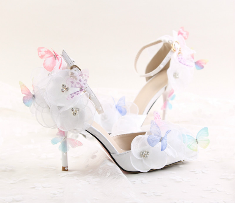ФОТО New fashion flowers butterfly bridal shoes Super high with fine summer ladies 9cm wristband sandals wedding shoes