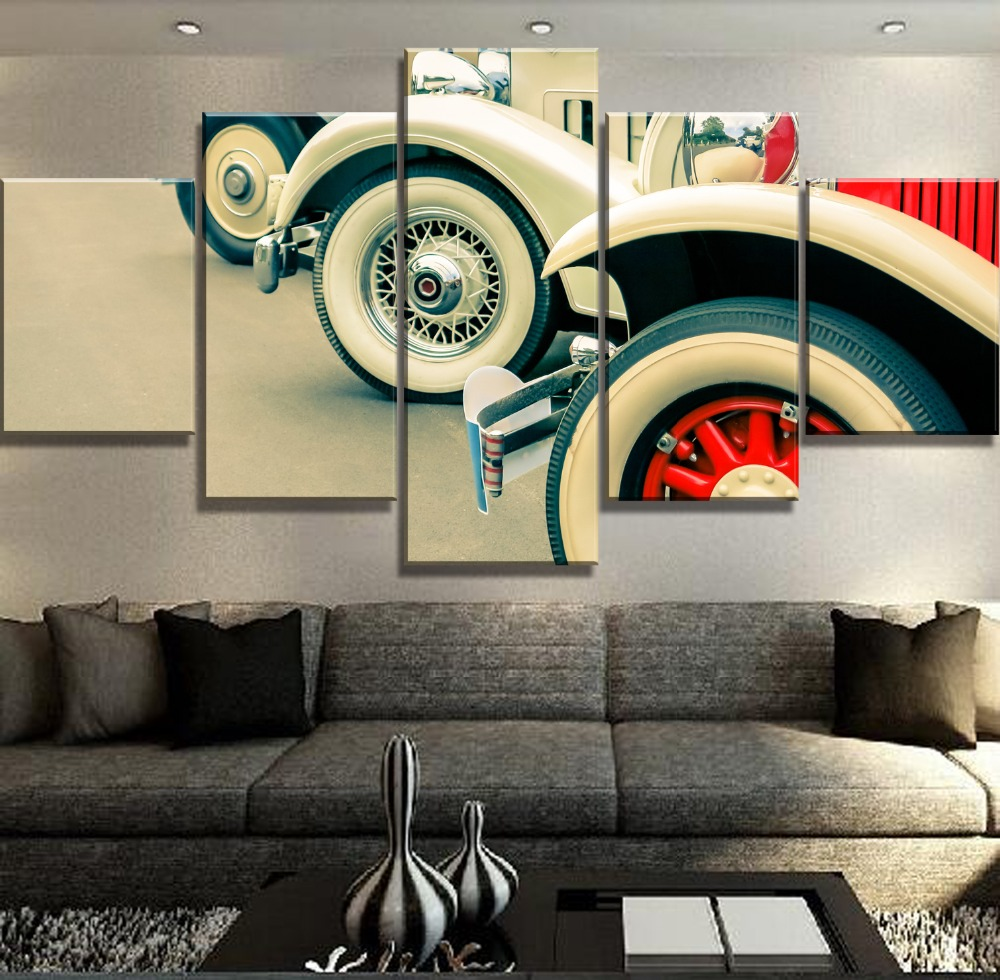 5 Piece Canvas Art Classic Cars Lineup Cuadros Decoracion Paintings on Canvas Wall Art for Home Decorations Wall Decor Framework in Painting Calligraphy from Home Garden