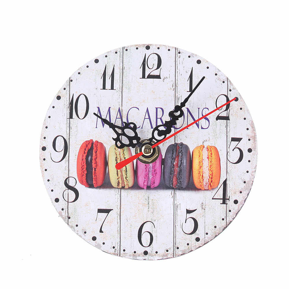Vintage Round Wall Clock Imitation Wood Retro Number Round Clocks Home Decorate Watch For Living Room Bedroom dropshipping 325Z