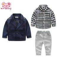 Xirubaby Fashion children baby winter clothing for 3 pcs boy clothes coat+ lattice shirts+jeans pant sets kids gentleman suits