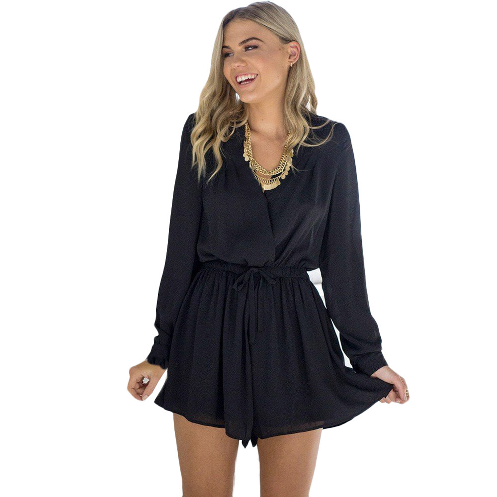Free Ostrich Sexy V-neck Boot Cut Chiffon Bodysuit Plus Size Long Sleeve Open Back Tunic Short Rompers Womens   Jumpsuit   D0635