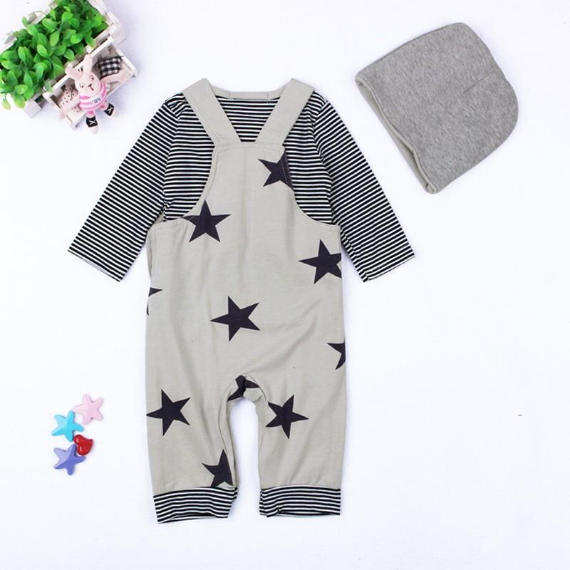 Baby Boys Baby Girls clothing set Newborn baby black grey striated T-shirt+ bib pants + hat stars pattern costumes suits (11)