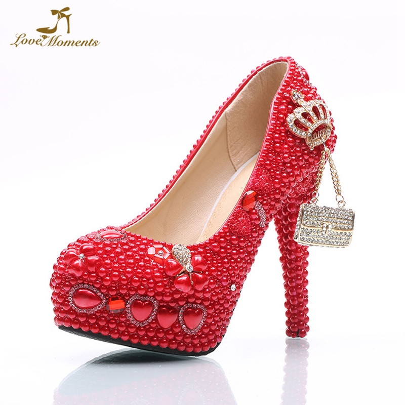 Gorgeous Red Pearl Anniversary Ceremony Event Shoes Rhinestone Wedding High Heels Platform Handmade Lady Shoes Bride Pumps pure white pearl wedding dress shoes gorgeous red rhinestone heart shape women pumps 3 inches high heel bride shoes event pumps