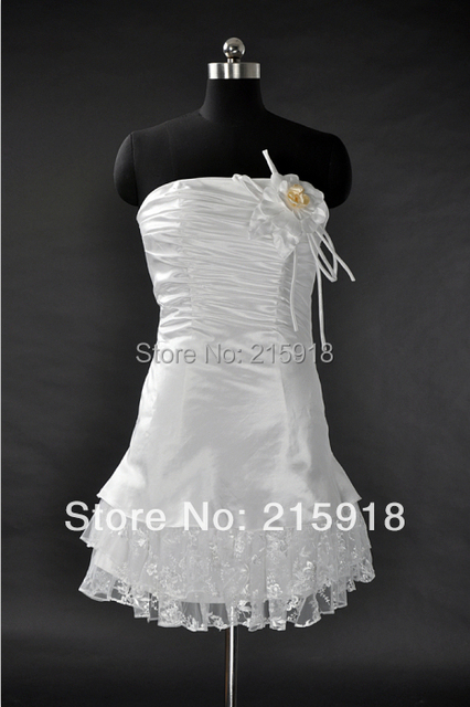 Us 990 Real Made Classic Mini A Line Short Satin Lace Wedding Dress Bridal Gown 2016 In Wedding Dresses From Weddings Events On Aliexpresscom
