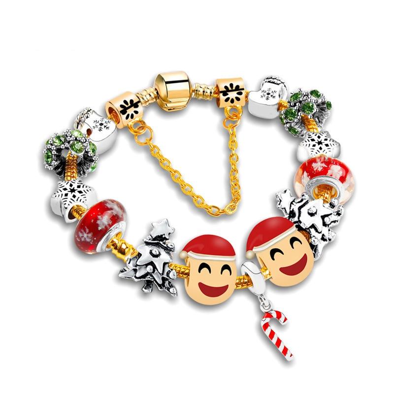 new font b christmas b font emoji bracelet cute face charms red white green tree festival