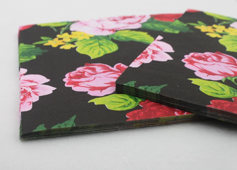 Vintage black flower paper napkins cafeparty tissue napkins vintage black flower paper napkins cafeparty tissue napkins decoupage decoration paper 33cm33cm 20pcspacklot in toilet tissue from beauty health on mightylinksfo