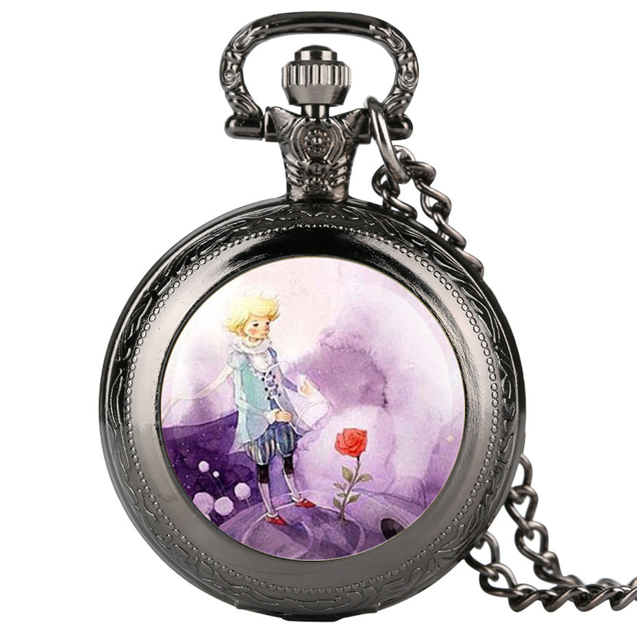 The Little Prince Rose Watches For Kids Fashion Quartz Pocket Watch Necklace Pendant Fob Watches Clock Timepieces Gifts