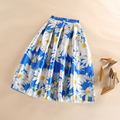 2016 Sun Flowers Printed High Waist Pleated Skater Flared Tutu Skirt Women Floral Midi Skirts Plus Size XXL Saia Jupe Longue