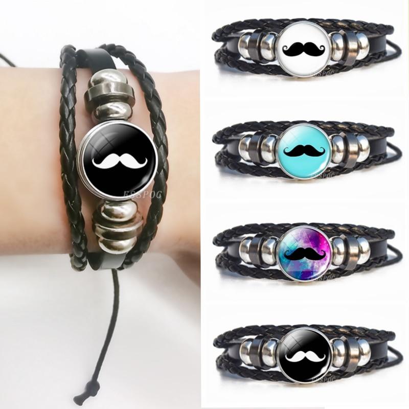 Steampunk Men Leather Bracelet Moustache Glass Cabochon Snap Bracelet Moustache Jewelry Creative Diy Gifts for Him Men