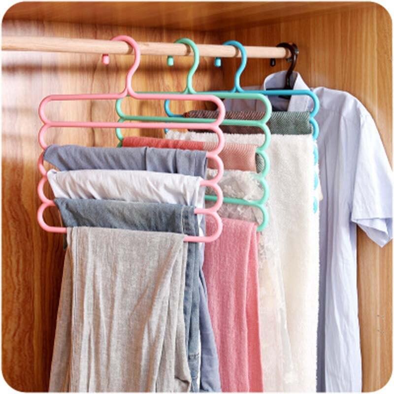 ผู้ถือแขวนกางเกงมัลติฟังก์ชั่แขวนกางเกง Tie ผ้าพันคอเข็มขัดผ้าเช็ดตัวลื่น Magic Hanger Rack แขวนเสื้อ...