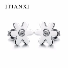 ITIANXI Hot Sale New Fashion Jewelry Wholesale Trend Stainless Steel Temperament Elegant Little Daisy Stud Earrings