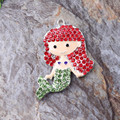 Free Shipping 10Pcs/Lot Metal Rhinestone Pendant Lovely Little Mermaid Pendant For Chunky Kid Necklace Kits