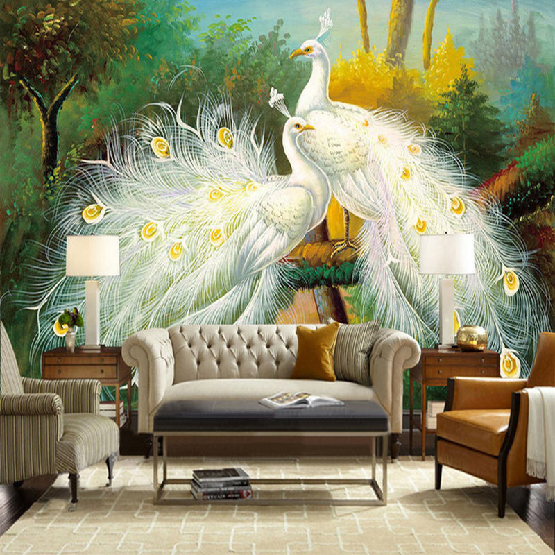 Custom 3D Photo Wallpaper Murals White Peacock Forest Scenery Oil Painting Living Room Bedroom Backdrop Art Mural Wall Paper free shipping custom murals worn coloured wood wall mural bedroom living room tv backdrop wallpaper