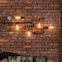 Главная промышленного Декор Бра Настенные светильники Утюг Лофт Спальня Wandlamp труба Ретро светильники враг Бар Крытый e27 Base