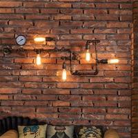 Loft Industrial 5 lights iron rust Water pipe retro wall lamp Vintage e27 sconce lights for living room bedroom restaurant bar