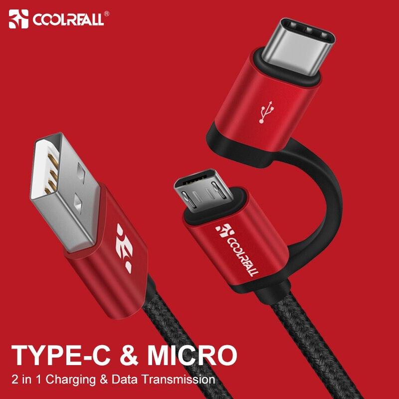 Coolreall 2.4A Micro USB C able 2 en 1 USB type C câble de chargeur de USB C de données de charge rapide pour Samsung Xiaomi Oneplus Huawei P9