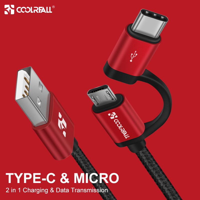 Coolreall <font><b>2</b></font>.4A Micro USB Cable <font><b>2</b></font> in 1 USB Type C Fast Charging Data USB C Charger Cable for Samsung Xiaomi Oneplus Huawei P9 image