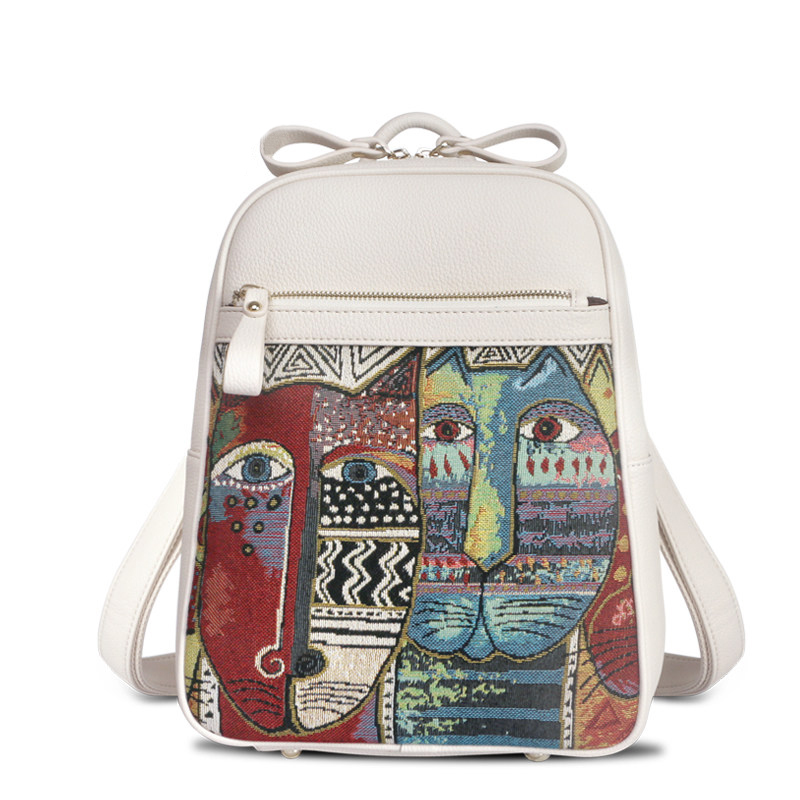 ФОТО 2016 Trendy New Edgy Embrodery Backpack Backside Zipper Pocket Women Fashion Exquisite Functional Single Shoulder Crossbody Bag