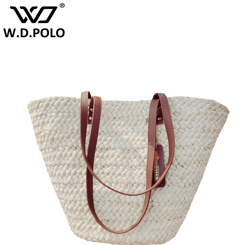 WDPOLO Brand chic design knitting women hand bag Summer Beach Bag Woman Straw Bags Women's Travel Rattan Bag for holiday z1192 beach straw bags women appliques beach bag snakeskin handbags summer 2017 vintage python pattern crossbody bag