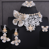 SisCathy New Luxury 4pc Butterfly Choker Necklace Bangle Ring Jewelry Sets Wedding Indian Nigerian Exaggerate Jewelry For Women