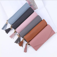 Long wallet ladies with tassel fashion purse multi-function lychee female card bag high quality clut