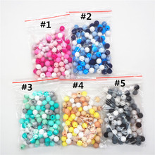 Chenkai 100pcs 9mm 12mm 15mm Silicone Teether Beads DIY Baby Pacifier Dummy Pendant Jewelry Sensory Teething Toy Bead BPA Free