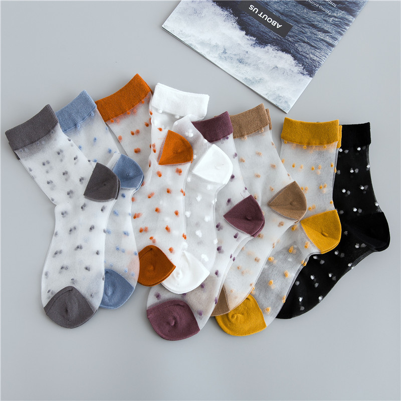 HUI GUAN Summer Cool Vintage Breathable Transparent Ultra-thin Women   Socks   Dots   Socks   Women Original Soft Fashion Women   Socks