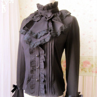 Women Victoria High Neck Bow Tie Frill Chiffon Blouse Stand Ruched Collar Costume Top Black Slim Vintage Lace Shirt For Ladies