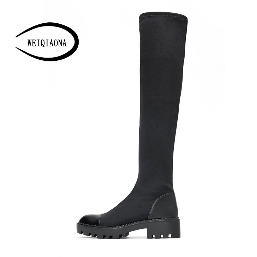 WEIQIAONA2019 новые пикантные зимние теплые зимние ботинки женская обувь Острый носок Модные ботфорты выше колена на молнии на низком каблуке бот...