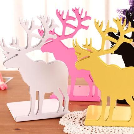 2 unids/par coreano lindo Animal libro Stand Metal sujetalibros Decoración Oficina escritorio estantería para libros