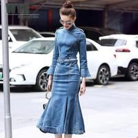 WYG High Quality Qipao Dress 2018 Autumn Casual Fashion Long Flare Sleeve Jeans Dress Denim Mermaid Dresses