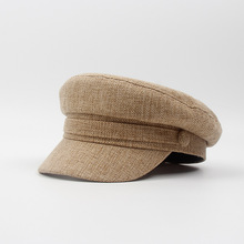 Primavera otoño moda sombreros militares para las mujeres Vintage superior  plano Militar sombrero negro boina del ea151e8f36e
