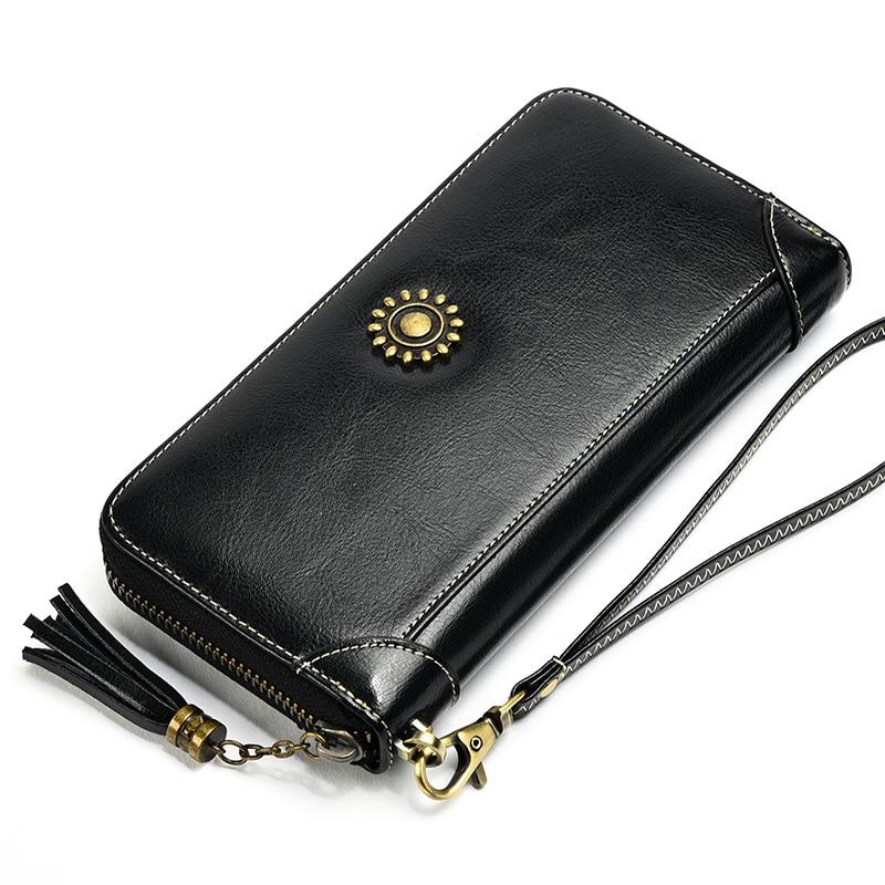 Simple Genuine Leather Women Wallet Oil Wax Leather Copper Buckle Tassel Purse Coin Holder Lady Vintage Wristlet Hand Clutch Bag