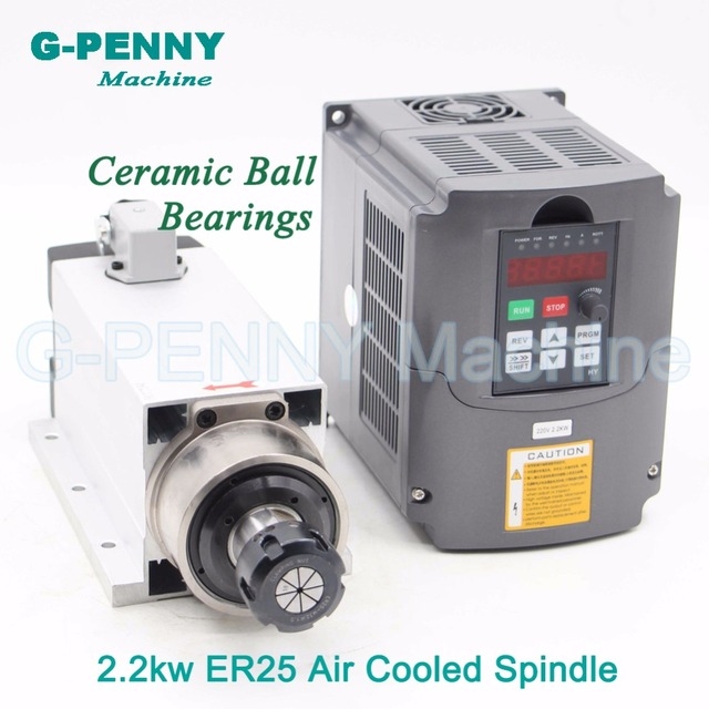New Product ! 220v 2.2kw ER25 air cooled spindle 4 pcs bearings Ceramic ball bearings high quality 0.01mm & 2.2kw VFD/Inverter
