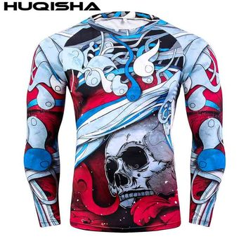Mens MMA Fitness Rashguard T Shirts Fashion 3D Teen Wolf Long Sleeve Palace Compression Shirt Man Bodybuilding Clothing