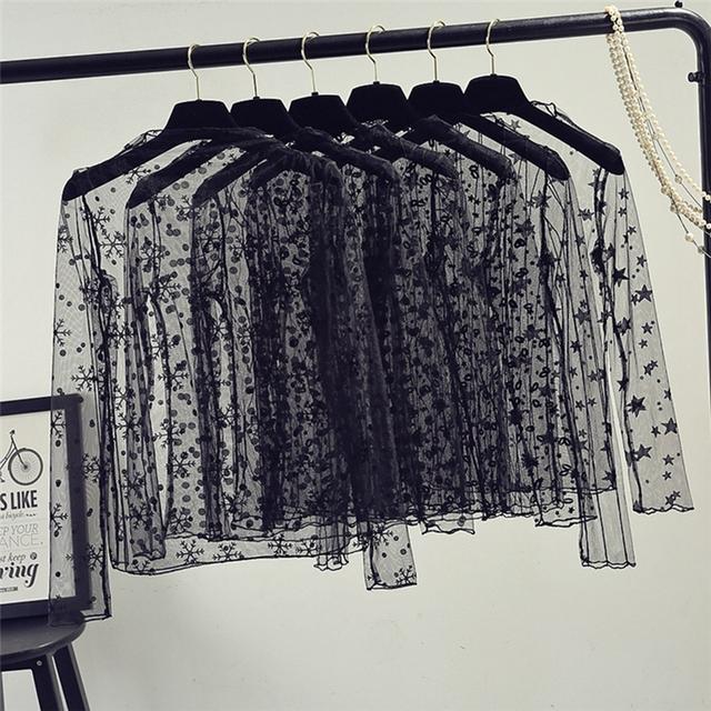 spring Summer Women Lace Blouses Shirt Women tops Sexy mesh Blouses See-through Long Sleeve Black Dot Star Striped Shirt Blouse